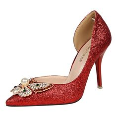 Roger Lee Grace Side Hollow Glitter Sharp Top Rhinestone Butterfly Woman Stiletto Thin High Heel Shoes (Silver, 5.5) -- More info could be found at the image url.