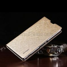 Aixun Shinning Leather Texture Stand Flip Cover Case for Xperia Z2 L50W Champagne - Best Xperia Z2 Case . http://www.gajetto.nl golden -  xperia z2 leather case