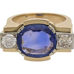A Vintage 1940s 6,5 Carat Blue Sapphire And Diamond Cocktail Ring, Statement Ring, -- found at www.rubylane.com #vintagebeginshere #mondayblues