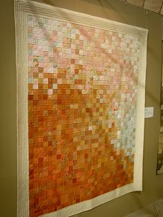 variation on a postage stamp quilt in ombre style