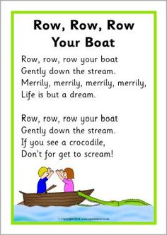 I chose this as it has a lot of repetition through out the rhyme. Row, Row, Row Your Boat song sheet - SparkleBox Rhyming Preschool, Nursery Rhymes Preschool, Rhyming Activities, Therapy Activities, Nursery Rhymes For Toddlers, Free Nursery Rhymes, Nursery Rhyme Theme, Transportation Songs, Nursery Rhymes Lyrics