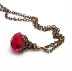 Ruby Red Pendant, Antique Bronze Chain, Handmade Pendant, Red Necklace, July Birthstone, Boho Necklace