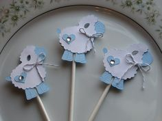 Little Blue Lamb Cupcake Toppers Bakers por vintagehillcreations, $14.00