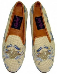 Needlepoint loafers WITH CRABS!!!
