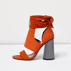 River Island Orange tie up graphic heel sandals ($81) ❤ liked on Polyvore featuring shoes, sandals, orange, river island, high heeled footwear, orange high heel shoes, suede shoes and block heel sandals