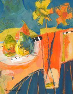 Pears & Flower Vase by Shelli Walters