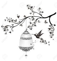 30170994-Oiseaux-sur-des-cages-oiseaux-de-printemps-volant-sur-la-branche-Vector-illustration-Banque-d'images.jpg (1218×1300)