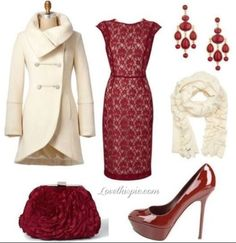 Gets me into the holiday spirit just looking at it. This beautiful ensemble offers, chic holiday style.