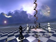 Jacob's Ladder, chess art, abstract, cubist, surreal, painting, woman, player, game, playing chess, chess posters, chess artwork