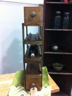 """Repurposed Wine Holder made from vintage sewing machine drawers! A """"Design Against the Grain"""" Original."""