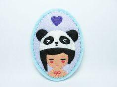panda-hatted girl felt brooch by hanaletters on etsy