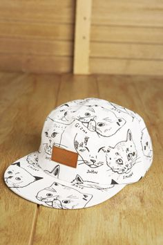 This might just be the only cat Snapback you'll ever see. http://cmbk.bigcartel.com/product/cmbk-cat-hat-5-panel-white