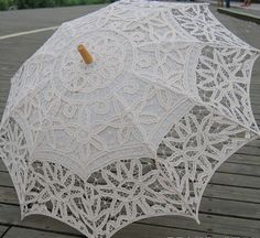 Ivory Color Battenburg Full Lace Umbrella Shabby by TableclothShop, $19.99