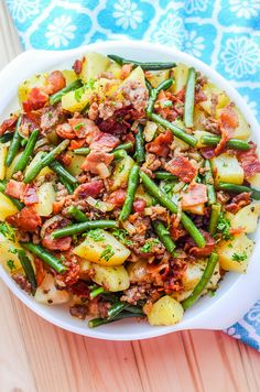 Ham and zucchini clafoutis - Recipe Guide Southern Green Beans, Southern Greens, Southern Style, Bean Recipes, Soup Recipes, Dinner Recipes, Yummy Recipes, Sausage Potatoes Green Beans, Food Dishes