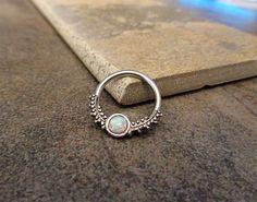 "White Opal Fire Conch Hoop Earring, Cartilage Helix Nipple , Captive Bead Earring, 14G 16G 1/2"" Diameter Surgical Steel Solld as Single"
