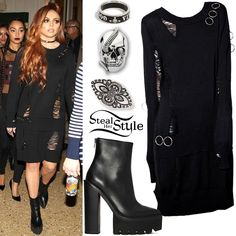 Jesy Nelson arrived with her bandmates at their signing at Mohegan Sun in Uncasville wearing a Disturbia Hex Jumper Dress ($38.41), a ring from a Forever 21 Etched Ring Set (Sold Out), a Vivienne Westwood Conduit Street Ring ($72.40), her Theo Fennel Polished Silver Snake Eye Ring (£450.00), and Jeffrey Campbell Famous Boots (Sold Out).