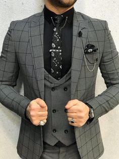 Collection: Spring – Summer 2020 Product: Slim-Fit Plaid Suit Color Code: Gray Size: Suit Material: viscose, polyester Machine Washable: No Fitting: Slim-fit Package Include: Jacket, Vest, Pants Gifts: Chain, Flower and Neck Tie Mens Fashion Suits, Mens Suits, Groom Suits, Groom Attire, Male Fashion, Groomsmen, Grey Slim Fit Suit, Black Suits, Mens Slim Fit Suits