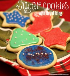 These sugar cookies are perfect for using cookie cutters. They hold their shape and do not spread. The royal icing is easily spreadable and doesn't require a piping bag.