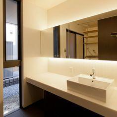 Japanese-Style Home located in Minoh City, Osaka. Washroom, Architect Design, Custom Homes, Toilet, Sink, Vanity, Mirror, Interior, House