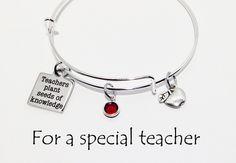 Teacher Gift, Teacher Bracelet, Gifts for Teachers, Teacher Bangle, Teacher Jewelry, End of year gift, Teacher Appreciation, Charm Bracelet by SincereImpressions on Etsy