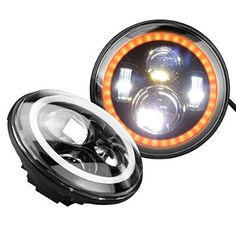 Mictuning 7 Inch Round 40w Cree LED Headlights w/ White Amber Halo Ring Angel Eyes For Jeep Wrangler JK TJ CJ [one pair]