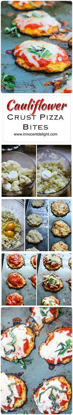 Cauliflower Crust Pizza Bites. Gluten Free. Grain Free. 100% Delicious Pizza Recipes, Paleo Recipes, Low Carb Recipes, Great Recipes, Cooking Recipes, Favorite Recipes, Recipe Ideas, Cheesy Recipes, Bariatric Recipes