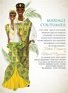 Mi klo o Cote d'voire Traditional Wedding Invitation Wedding Invitation Card Wording, Bachelorette Party Invitations, Engagement Invitations, Igbo Wedding, Ghana Wedding, Wedding Ceremony, Wedding Hijab, Wedding Dresses, Ghana Traditional Wedding