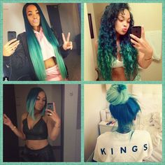 Long hair really should not be combed so frequently because every time going through the lost hair comb. Long hair is not always open carry, thereby avoids too frequent combing. Tie long hair never with rubber bands, which destroys your hai Dope Hairstyles, Weave Hairstyles, Pretty Hairstyles, Protective Hairstyles, Protective Styles, Hairstyle Ideas, Green Hair, Blue Hair, Blue Green