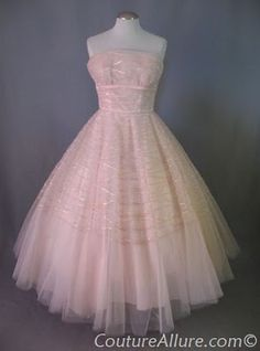 vintage evening gowns | 1950s pale pink tulle strapless ballerina length dress by Rappi.