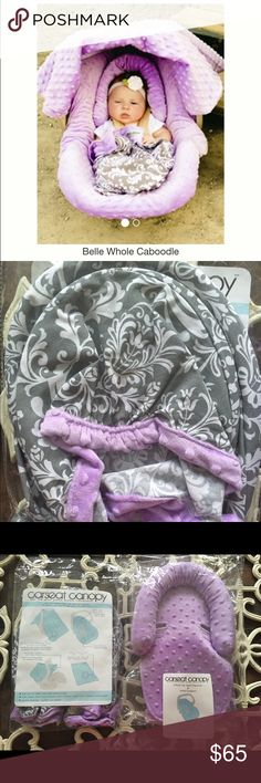 Brand New!!! Baby girl car seat Cover!  I bought the whole kit and caboodle for my baby girl from carseatcanopy.com and then decided not to use it. I kept the actual canopy and blanket from the kit, but decided I didn't need the slip cover, or the car seat umbrella cover, which is why I am selling it here. It is opened, but unused. I literally took it out of packaging and then put it right back in. I paid over $100 with shipping and tax! Your loss is my gain! This is made to stretch and fit…