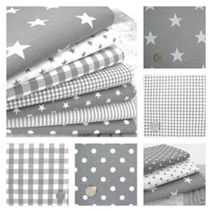STARS - GREY and WHITE COTTON FABRIC by the metre EX WIDE NURSERY BOYS FASHION