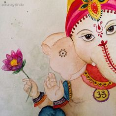 Lord Ganesha detail, aquarela / watercolor, 30 x 22,9 cm Adriana Galindo ( yoga namaste hinduismo)