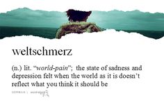 """weltschmerz   (n.)   lit. """"world-pain""""; the state of sadness and depression felt when the world as it is doesn't reflect what you think it should be   german   #wordstoliveby"""