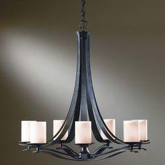 Hubbardton Forge Berceau 7 Light Shaded Chandelier Finish: Black, Shade Color: Opal, Bulb Type: (7) 60W fluorescent base bulbs