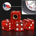 4 Transparent Red Dice Valve Stem Car Tire Bike Wheel Caps Truck Air Dust Tyre A