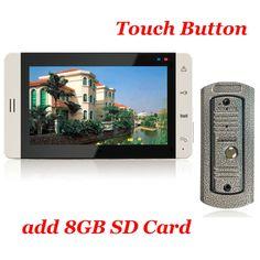 Botón Táctil de 7 pulgadas del Monitor de Color de 8G Tarjeta SD de Grabación de Vídeo Carcasa de Metal a prueba de Vandalismo IR Cámara de Vídeo Teléfono de la puerta Sistema de Intercomunicación