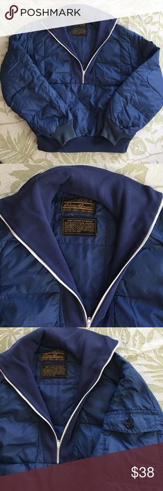 Eddie Bauer Goose Down quilted puffer jacket Large Vintage Eddie Bauer 1/2 zip goose down quilted puffer size Large. It has one kangaroo pocket that ruins all the way across. You can see the zipper on the last picture. Excellent condition! Eddie Bauer Jackets & Coats Puffers