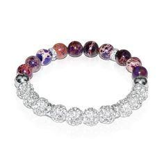 Purple Regarte Infinity Crystal. Semiprecious  Purple Regarte Stone with White Swarovski Elements and a Silver Finish. Reminiscent of the twinkling stars in the night sky, their glimmering light will shine for what seems like eternity. This stunning set of bracelets combines beautiful semiprecious stones with sparkling crystals and rhodium plated embellishments. See more at: http://www.josephnogucci.com/collections/infinity-crystal/products/purple-regarte-infinity-crystal