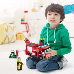 Kids Boy Girls DIY Fire Truck Minifigure Educational Toys Building Blocks Bricks #Unbranded