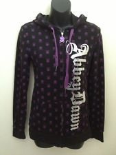 ABBEY DAWN HOODIE By Avril Lavigne Black Purple Skulls Juniors L - EUC