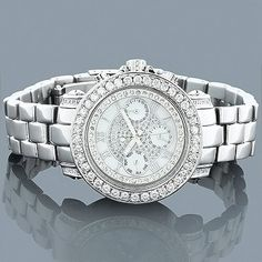 Luxurious Luxurman Watches! This Ladies Diamond Watch by Luxurman showcases 3 carats of white sparkling diamonds a white face paved in sparkling white stones with three subdials, a silver stainless steel case and a polished silver stainless band. This Ladies diamond Luxurman wrist watch houses a fine Japan-made quartz movement, and is conveniently water-resistant.