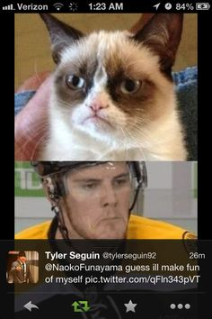 Boston Bruins Tyler Seguin compared himself to grumpy cat - can't be unseen