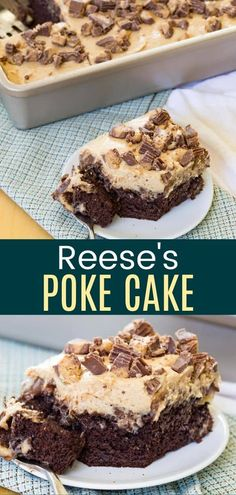 Reese's Poke Cake - the ultimate chocolate and peanut butter dessert perfect to take to a party or potluck. Start with a regular or gluten free chocolate cake mix, then add peanut butter pudding, chocolate frosting, peanut butter topping, and peanut butter cups! Chocolate Cake Mix Recipes, Gluten Free Chocolate Cake, Poke Cake Recipes, Poke Cakes, Cupcake Recipes, Chocolate Frosting, Baking Recipes, Dessert Recipes, Layer Cakes