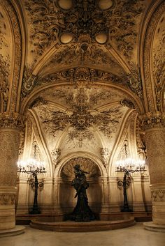 Statue dans l'Opéra Garnier à Paris. This opera house has 23 different colors of marble in it. It is stunningly beautiful.