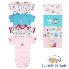 4 PCS Baby Romper Luvable Friends Cotton Short Sleeve Premium Layette Infant Next Bebe Ropa Body Sleepsuit Carters Baby Clothes