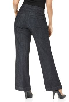 Plus Size Two Button Denim Trouser | Plus Size Trouser & Flare Leg Jeans | Avenue