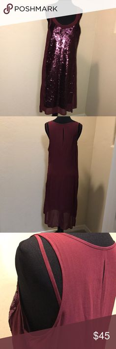 "women's apparel by Trouve- sequined party dress comfy party dress for a lovely lady 😍 -color is deep maroon - ""touched of red"" Trouve Dresses Midi"