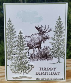 Handmade BIRTHDAY Card Kit, Set Of 4  STAMPIN' UP Walk In The Wild, Lovely As A Tree by decamerax3 on Etsy