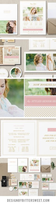 Senior Photography Marketing templates. Professional photographer branding materials. Pricing guides, graduation announcements, business cards, Facebook timelines, senior rep cards.  Beuatiful images courtesy of @ErinNeace