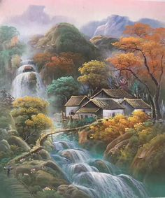 Asian Home Decor refined suggestion Interesting and superb styling decor help. Chinese Landscape Painting, Watercolor Landscape, Landscape Art, Landscape Paintings, Watercolor Pictures, Watercolor Paintings, Waterfall Paintings, Africa Art, Picture On Wood